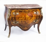 Antique French Louis XV Revival Marquetry Commode Chest