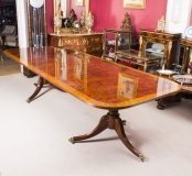Flame Mahogany 10ft Regency Style Twin Pillar Dining Table