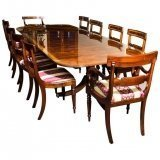 Flame Mahogany 10ft Regency Style Dining Table & set of 10 Chairs