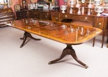 Bespoke Flame Mahogany10ft Regency Style Twin Pillar Dining Table