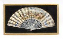 Antique French Hand Painted Mother Pearl Fan C1880