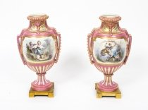 Antique Pair French Ormolu Mounted Pink Sevres vases C1880