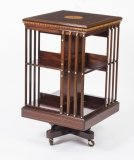 Antique Edwardian Inlaid Revolving Bookcase C1900