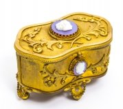 Antique French Gilt Bronze Jewellery Casket with Cameos
