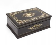 Antique French Ebonised & Red Boulle Jewellery Box C1860