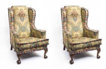Antique Pair Wing Armchairs Foliate Upholstery Liberty &CoC1920