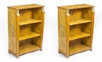 Pair Art Deco Egyptian Revival Birdseye Maple Open Bookcases