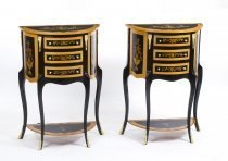 Pair Half Moon Ebonised Marquetry Bedside Chests Cabinets