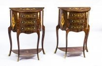 Pair Half Burr Walnut Marquetry Bedside Chests Cabinets