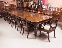 Antique Victorian 14 ft Flame Mahogany Extending Dining Table & 16 chairs