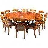 Theodore Alexander 7ft diameter Flame Mahogany Jupe Dining Table & 10 chairs