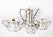 Antique Sterling Silver 4 piece Tea Coffee Service Martin Hall 1872