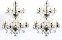 Pair of Vintage Venetian 12 Light Crystal Chandeliers 20th C