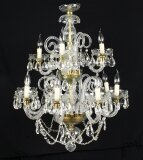 Vintage Venetian Two Tier 12 Light Crystal Chandelier 20th Century