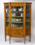 Antique Edwardian Marquetry Inlaid Satinwood Display Cabinet c1900