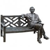Stunning Life Size Bronze Albert Einstein on a Garden Bench