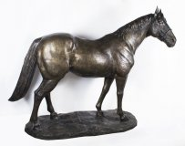 Stunning Massive Life Size Bronze Statue of a Stallion 20th C