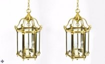 Mid Century Pair Brass Hexagonal Hall Lanterns C1950