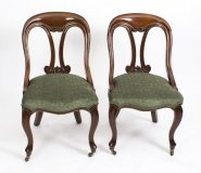 Antique Pair Victorian Mahogany Fiddle Back Side Chairs
