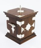 Antique Victorian Oak with Silver Plated Mounts Table Top Cabinet C1880