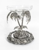 Antique Victorian Silver Plated Palm Tree Centrepiece Mirrored Base