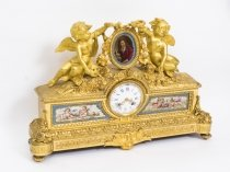 Antique French Gilt Bronze Clock with Portrait Plaque of Molière