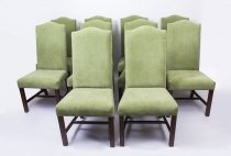 Vintage Set 10 Mahogany Upholstered High Back Dining Chairs 20thC