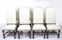 Bespoke Set 8 Carolean Style Upholstered High Back Dining Chairs