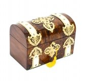 Antique Burr Walnut, Ivorine & Brass Box Casket with Key Ca 1870 19th Century