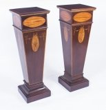 Antique Pair of Sheraton Revival Marquetry Statuary Pedestals C1900