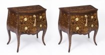 Antique Pair Dutch Marquetry Walnut Bedside Chests c1790