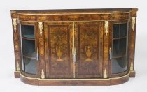Antique Victorian Walnut Inlaid 4 Door Credenza