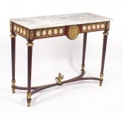 Vintage French Ormolu & porcelain Mounted Console Table C1970