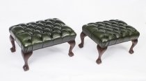 Pair of Chippendale Ball & Claw Leather Stools Emerald Green