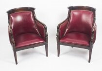 Antique Pair of Louis XV Revival Mahogany Fauteuil Armchairs 19th C