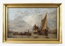 Antique Dutch Painting of Boats on an Estuary Circle Hermans Koekkoek 19th C