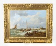 Antique Dutch Oil on Canvas Painting of a Coastal Scene Circa 1850
