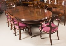 Antique 10ft Victorian Oval Extending Dining Table & 10 Chairs