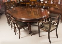 Antique 10ft Victorian Oval Extending Dining Table & 10 Tulip back Chairs
