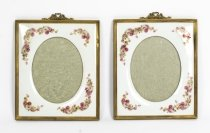 Antique Pair Continental porcelain photograph frames C1900