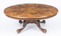 Antique Burr Walnut Marquetry Oval Coffee Table