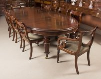 Antique Extending Dining Table C1870 & 10 Swag Back Dining Chairs