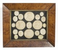 Antique Set 19 Grand Tour Plaster Framed Portrait Medallions C1840