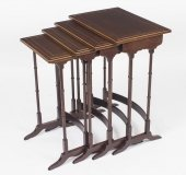 Antique Edwardian Mahogany Quartetto Nest of 4 Tables