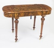 Antique Burr Walnut & Marquetry Writing Table Desk