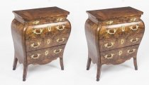 Antique Pair Italian Burr Walnut Commodini Bedside Chests 18th C
