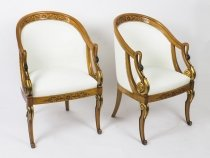 Antique Pair Biedermeier Style Creme Leather Tub Armchairs