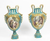 Antique Pair Large French Bleu Celeste Sevres Vases 18th C