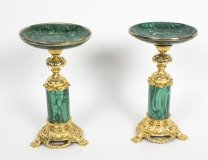 Antique Pair Malachite & Ormolu Mounted Tazzas Circa 1880