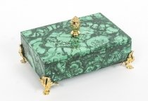 Vintage Malachite & Gilt Bronze Lidded Casket 20th C